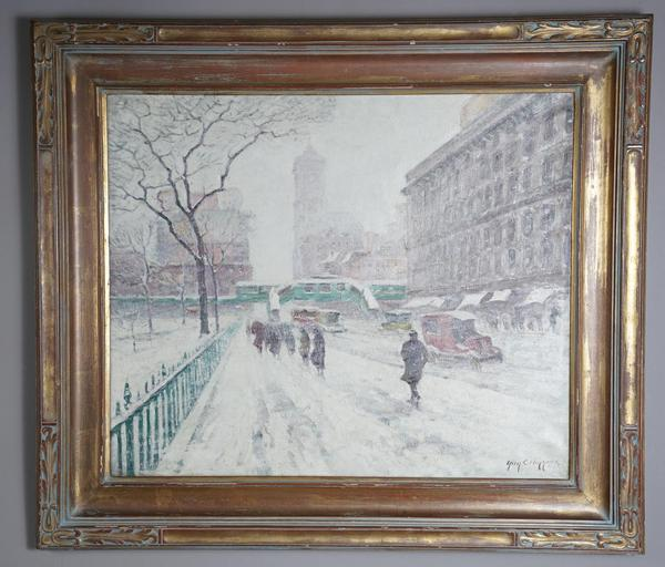 Guy Wiggins, Snow Storm, 42nd Street, oil-on-canvas