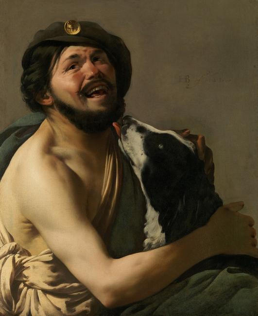 Hendrick ter Brugghen (The Hague? 1588–1629 Utrecht), A Laughing Bravo with his Dog (Diogenes?), 1628, oil on canvas, HOHENBUCHAU COLLECTION, on permanent loan to LIECHTENSTEIN.  The Princely Collections, Vienna, HB 84
