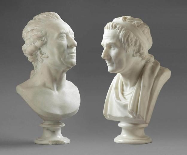 Two rediscovered marble busts by the French 18th century sculptor Jean-Antoine Houdon (French, Versailles 1741-1828 Paris), purchased by a European phone bidder ($1.475 million).