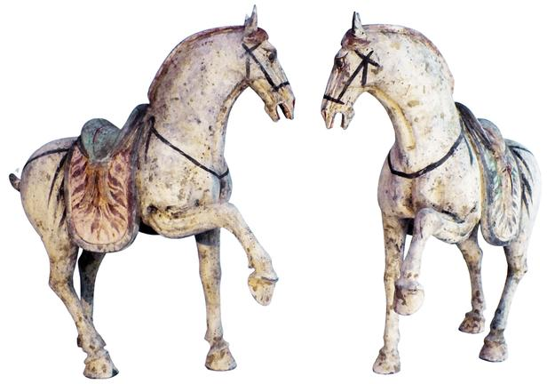 Magnificent matching pair of T'ang horses, Chinese, terracotta, 7-8 century