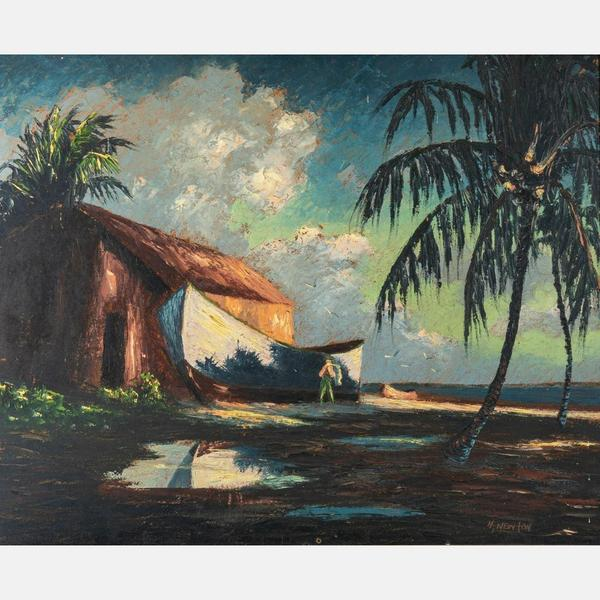 Oil on canvas board Harold Newton (1934-1994), a founding member of the Florida Highwaymen, a group of African American landscape painters, titled Beach Scene (est.  $20,000-$40,000).
