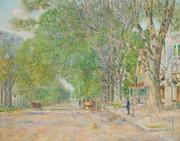 Oil painting by Childe Hassam, titled The East Hampton Elms in May ($288,000).