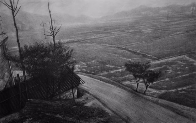 He Chunqing, Rural Area (乡野), Charcoal on Paper, 26.38'' x 41.73''
