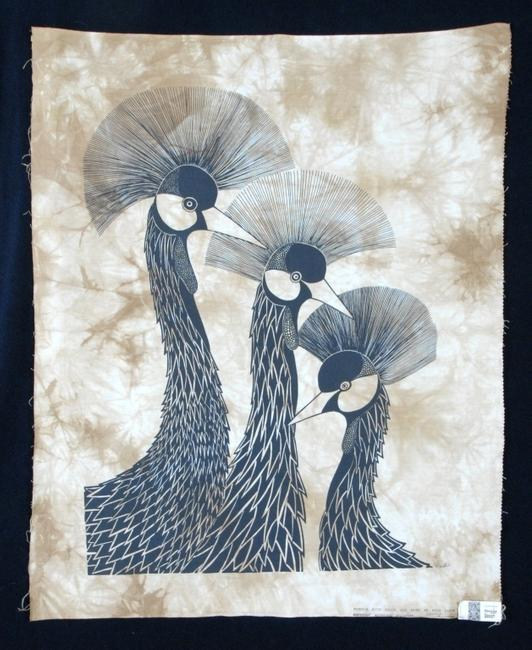 Heidi Lange original batik design and print, 35 inches tall, signed in the margin and titled Crown Birds.