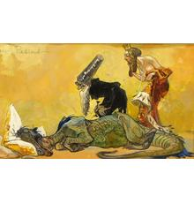Mythical illustrative painting by Heinrich Kley (German, 1863-1945), titled Der Patient, depicting an ill dragon resting on a pillow stuffed with gold ($4,375).