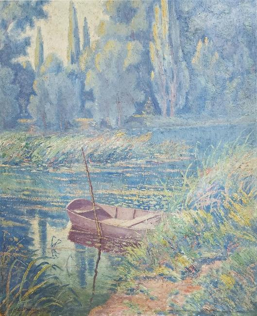 Oil on Masonite board by Henri Jean Guillaume Martin (1860-1943), depicting a river, trees and an unmanned rowboat (est.  $20,000-$40,000).