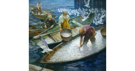 "N.C.  Wyeth (1882-1945), Herring!, ca.  1935, oil on canvas, 48 1/8 x 52 1/8"".  Collection of Phyllis and Jamie Wyeth"