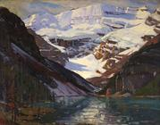 'Sunlit Peak, Lake Louise, Canadian Rockies', oil on canvas, 28 1/8 x 36 1/8 inches,signed lower right: 'A.  T.  Hibbard'