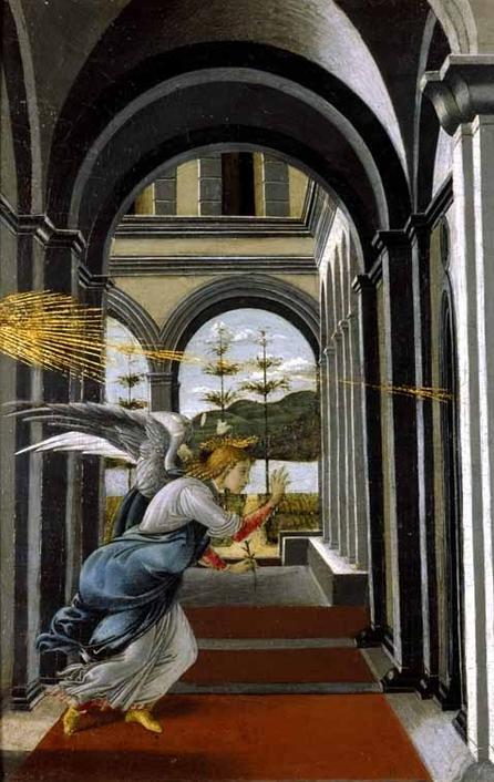 "Sandro Botticelli (and Possibly Assistant), ""The Annunciation,"" ca.  1490–95.  Oil, tempera, and gold leaf on walnut panel, 19 1/2 x 24 7/16 in.  (49.5 x 61.9 cm).  Glasgow Museums; Bequeathed by Archibald McLellan, 1856 (174).  © CSG CIC Glasgow Museums Collection.  Courtesy American Federation of Arts."