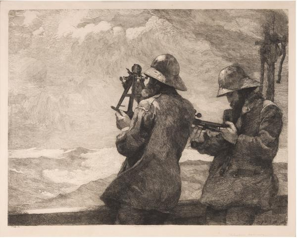 Winslow Homer (1836-1910) Eight Bells, 1887 Etching on simulated vellum, a type of Japan paper 17 1/4 x 24 5/8 inches 43.8 x 62.5 cm Signed in pencil lower right margin: Winslow Homer