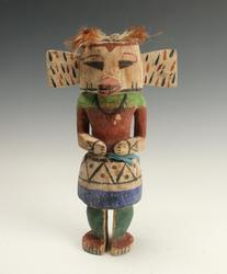 There are five painted wood Hopi Katsina (or kachina) dolls up for bid, as individual lots, each one about a foot tall.  One is pictured here.  Kachina dolls are hugely popular with collectors.