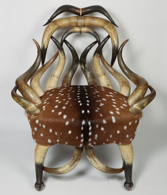 19th century American Horn and Hide Armchair