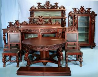 Stunning circa 1890 11-piece mahogany R.J.  Horner dining suite with cupids, an exact match suite with even the feet matching (a rarity); just two owners in its life (est.  $35,000-$75,000).