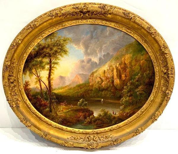 19th century Hudson River School oil painting of a mountainous river landscape with a river, fishermen and a sailboat, in very good condition, 21 inches by 26 inches (canvas) ($7,380).