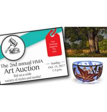 The HMA Art Auction features Lot 92: a landscape painting by Luigi Lucioni (American, 1900-1988) and Lot 90: a glass bowl by Kelsey Murphy (Ohio/West Virginia, 20th/21st c.).