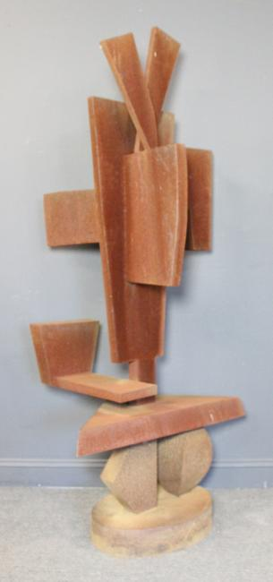 One of two works in the sale by Dorothy (Mann) Dehner is this steel abstract sculpture, signed and dated 1987, 34 ¼ by 28 ½ by 75 inches ($10/15,000).
