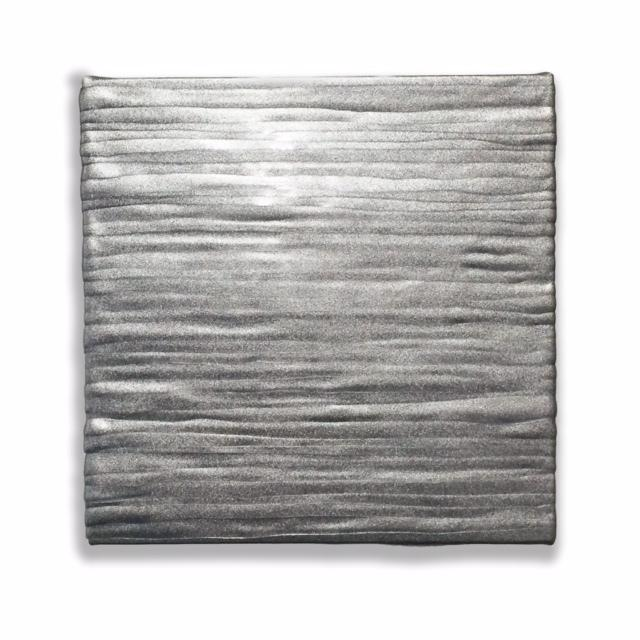 "Jessica McCambly, ITM-5, Acrylic, stainless steel on panel, 6"" x 6"" x 1.5"" 