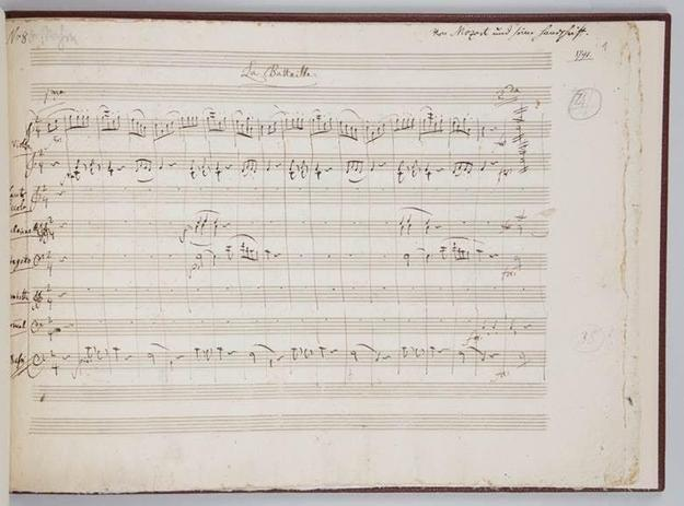 First page of a six-page complete musical manuscript, autographed by Wolfgang Amadeus Mozart and titled Le Bataille (K.535, a contredanse for orchestra).