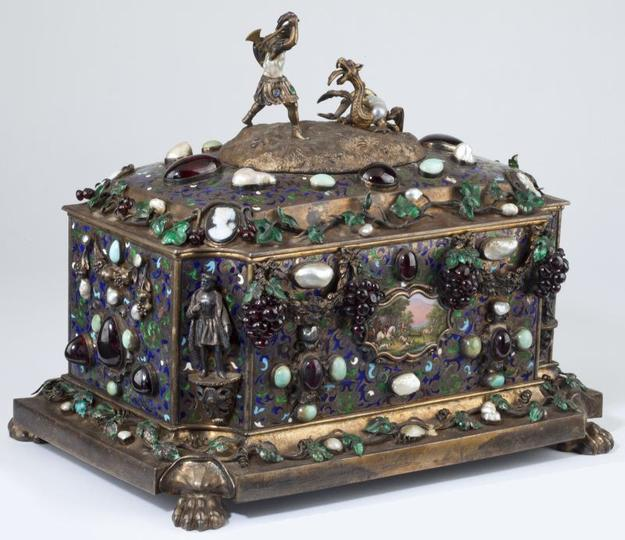 Important French Parcel Gilt and Gem Set Jewel Casket, with the mark for Paul Rigaux and Pierre Leblanc (est.  $20,000-$40,000)