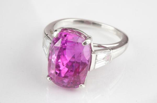 Important Purplish Pink Sapphire and Diamond Ring, color stone falls into category of less than one percent of color stones worldwide (est.  $40,000 to $60,000).
