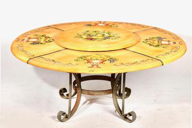Italian Majolica and wrought iron patio table by Ceccarelli, 32 inches tall and 72 inches in diameter (est.  $500-$700).