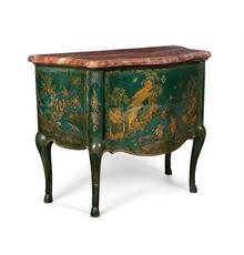 North Italian Rococo parcel gilt blue and polychrome japanned Chinoiserie decorated commode, Pietro Massa, Piedmont, mid-18th century, 38 ½ inches tall ($27,500).
