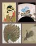 Clockwise, from top left: Torii Kiyomine, Beauty Tying a Hair Ribbon, courtesy Sebastian Izzard LLC Asian Art.  Hochu Nakamura, Asagao (Morning Glories) (detail), courtesy Judith Dowling Asian Art.  Attributed to Kano Eitoku, Gift-bearers at the Chinese Court (detail), courtesy Koichi Yanagi Oriental Fine Arts.  Mirror with image of Kongo Zao Bosatsu, courtesy of Mika Gallery.  Maruyama Okyo, Portrait of a Young, Sleeping Cat (detail), courtesy Leighton R.  Longhi, Inc.  Oriental Fine Art.  Usum