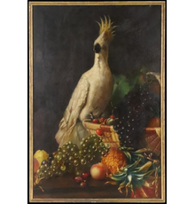 Oil on Canvas painting by J.  E.  Stevens, titled, Cockatiel and Fruit Still Life, dated 1868 (est.  $800-$1,200).