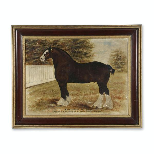 Oil on canvas painting of a horse by the Canadian photographer and painter J.  J.  Kenyon (Oxford County, 1862-1937), 23 ½ inches by 17 ½ inches (sight) (est.  CA$4,000-$6,000).