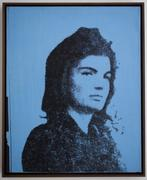 "Andy Warhol, ""Blue Jackie,"" 1964.  Acrylic and silkscreen ink on linen, approx.  20 x 16 in."