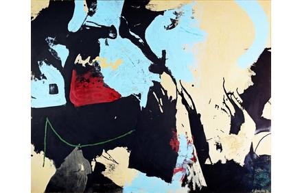 Signed acrylic on canvas painting by James Brooks (N.Y./Mo., 1906-1992), titled Isen, 48 inches by 72 inches (est.  $50,000-$70,000).