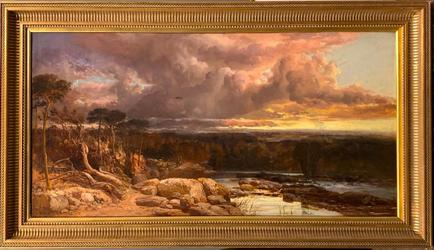 Large oil on canvas by James Webb (British, 1825-1895), titled Thunder Clouds (1858), signed and dated and measuring 33 inches by 58 inches (framed) (est.  $3,000-$5,000).