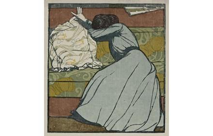 Max Kurzweil (Austria, 1867–1916), The Cushion (Der Polster), 1903.  Color woodcut.  Cantor Arts Center collection, Museum Purchase Fund, 1969.151