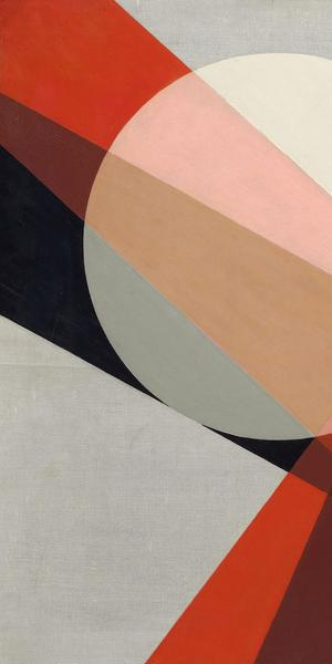László Moholy-Nagy, A 19, 1927, oil and graphite on canvas, 31 1/2 × 37 5/8 in., Hattula Moholy-Nagy, Ann Arbor, Michigan, © 2017 Hattula Moholy-Nagy/Artists Rights Society (ARS), New York/VG Bild-Kunst, Bonn