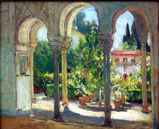 Colin Campbell Cooper, Garden View, Santa Barbara.  Oil on board, 14 1/4 x 17 1/4 inches.  George Stern Fine Arts.