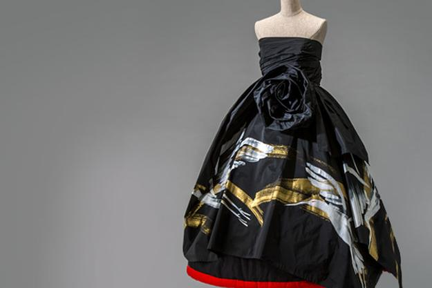 Evening dress, Autumn/Winter 1991, by Rei Kawakubo (Japanese, b.  1942) for Comme des Garçons Noir.  Silk taffeta with hand painting.  Collection of The Kyoto Costume Institute.