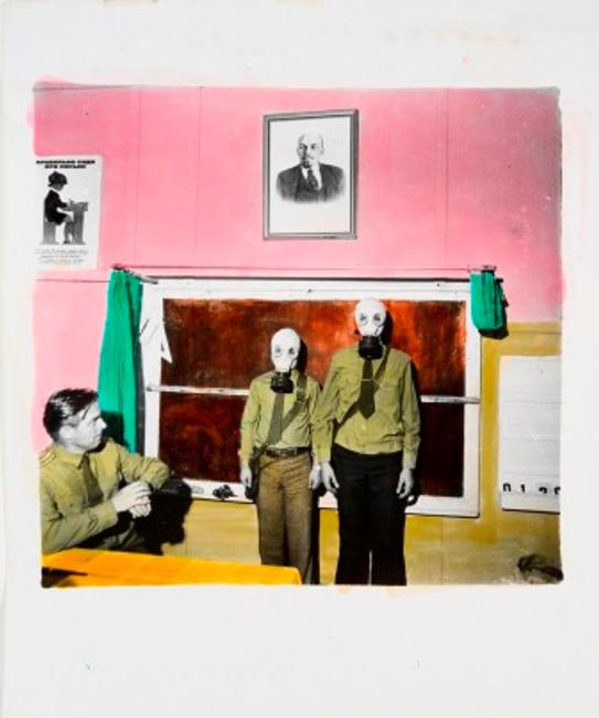 Boris Mikhailov (Ukrainian, b.  1938) Untitled from the series Sots Art, 1975-1990 Gelatin silver print hand-colored with aniline dyes on paper Sheet: 23 9/16 x 19 3/4 in., image: 16 9/16 x 17 1/8 in.  Collection Zimmerli Art Museum at Rutgers University, Norton and Nancy Dodge Collection of Nonconformist Art from the Soviet Union, 2000.1131/01773 Photo by Peter Jacobs.