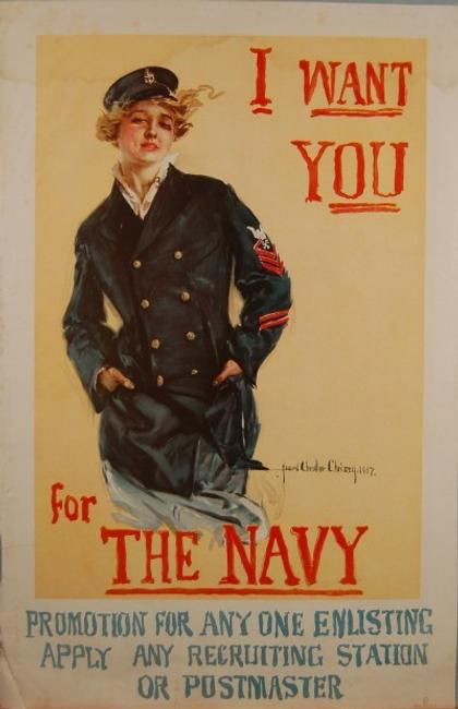 Howard Chandler Christy, 1873-1952 I Want You for the Navy, 1917 Lithograph on paper, 41 1/2 in.  x 27 1/4 in.  Gift of John and Beverly Watling
