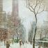 "Guy C.  Wiggins (1883 - 1962) Winter Along Central Park.  Signed, Guy Wiggins, NA, lower right, titled and signed again, verso, oil on canvas, 30"" x 25"".  The Cooley Gallery at the Armory Antique Show."