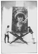Artist Marion Pike with Coco Chanel with a painting by Pike of Chanel.