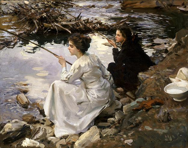 John Singer Sargent (American, born in Italy, 1856–1925), Two Girls Fishing, 1912, oil on canvas, 22 x 28 1/4 in., Cincinnati Art Museum, Cincinnati, Ohio.  John J.  Emery Fund, 1918.39, Photograph courtesy of Bridgeman Images