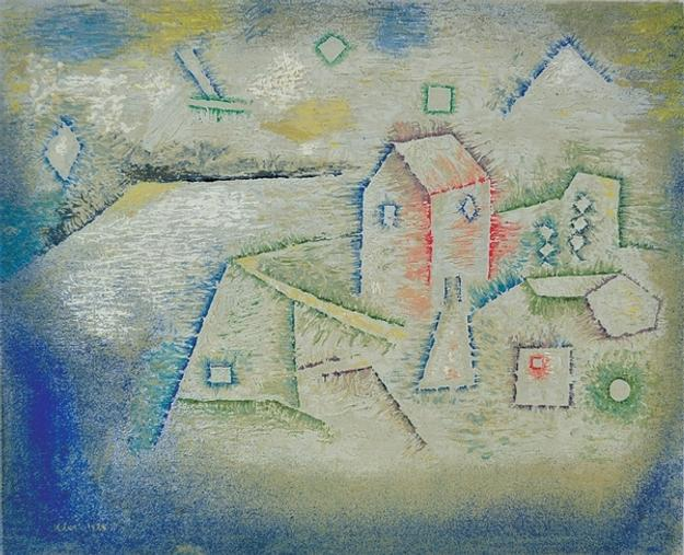 """Landhaus im Norden,"" a 1925 oil on paper by Swiss artist Paul Klee, could bring $400/600,000 during the Clars Feb 5-6, 2011 fine art auction in Oakland, CA…"