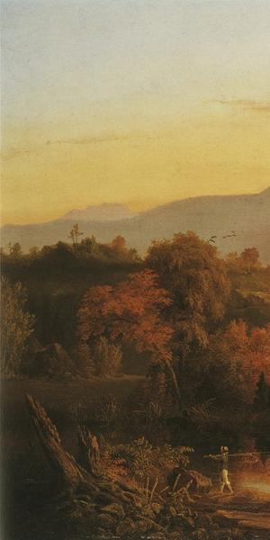 THOMAS COLE, View Near Catskill, 1828-29.  Oil on wood panel, 24 1/4 x 33 3/4 in.  Framed: 31 1/2 x 41 x 2 3/8 in.  Private collection