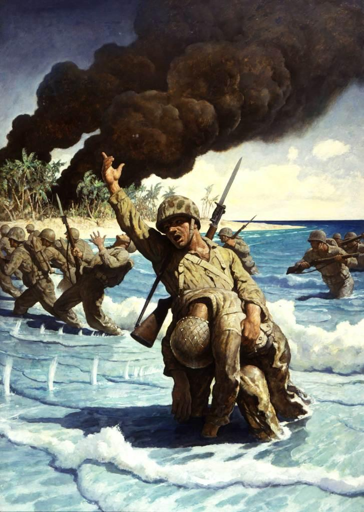 N.  C.  Wyeth (1882–1945) Untitled (Marines landing on the beach), 1944
