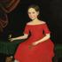 Ammi Phillips.  Portrait of a Winsome Young Girl in Red with Green Slippers, Dog and Bird.  Est.  $300/500,000.