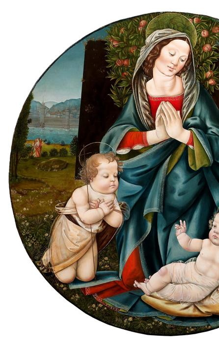 Master of the Johnson Assumption (Tuscany, active c.1485-1515), Madonna and Child with Young Saint John the Baptist, Tondo, tempera on panel.  Diameter: 88.5 cm, 34⅞ ins