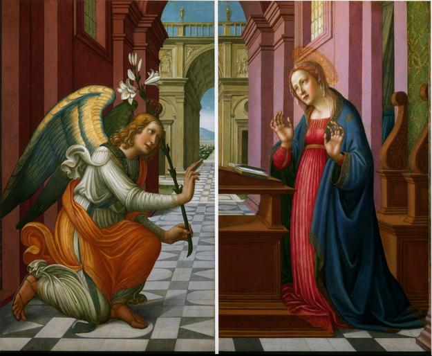 Arcangelo di Jacopo del Sellaio (Florence, c.1477/8-1530) Annunciation.  Each panel, 130.8 x 79 cm, 51½ x 31 ins