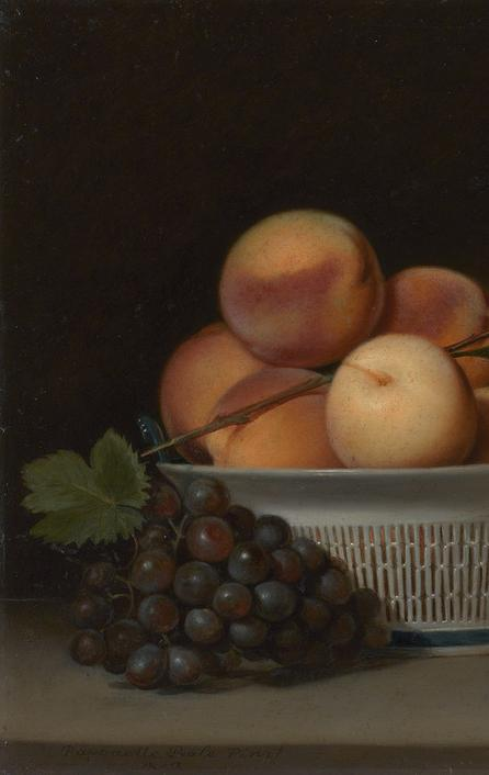 Peaches and Grapes in a Chinese Export Basket Raphaelle Peale (1774–1825)