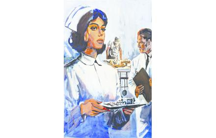 Walter Robinson, Society Nurse, 2011, acrylic on canvas.  Courtesy of the artist.