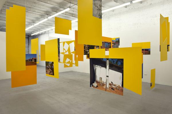 "Sergio Vega, ""Shanty Nucleus After Derrida 2"" (2011–13), installation, inkjet vinyl prints mounted on syntra (gift of Nicholas Pardon)"